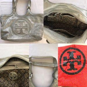 Authentic Tory Burch silver handbag.